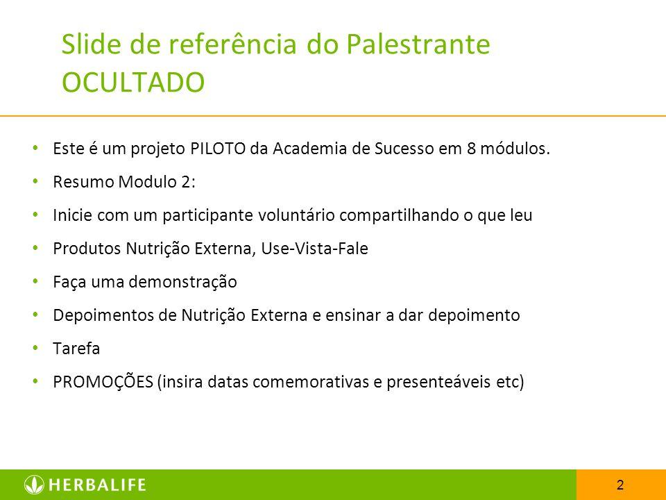 2 Slide de referência do Palestrante OCULTADO Este é um projeto PILOTO da Academia de Sucesso em 8 módulos. Resumo Modulo 2: Inicie com um participant