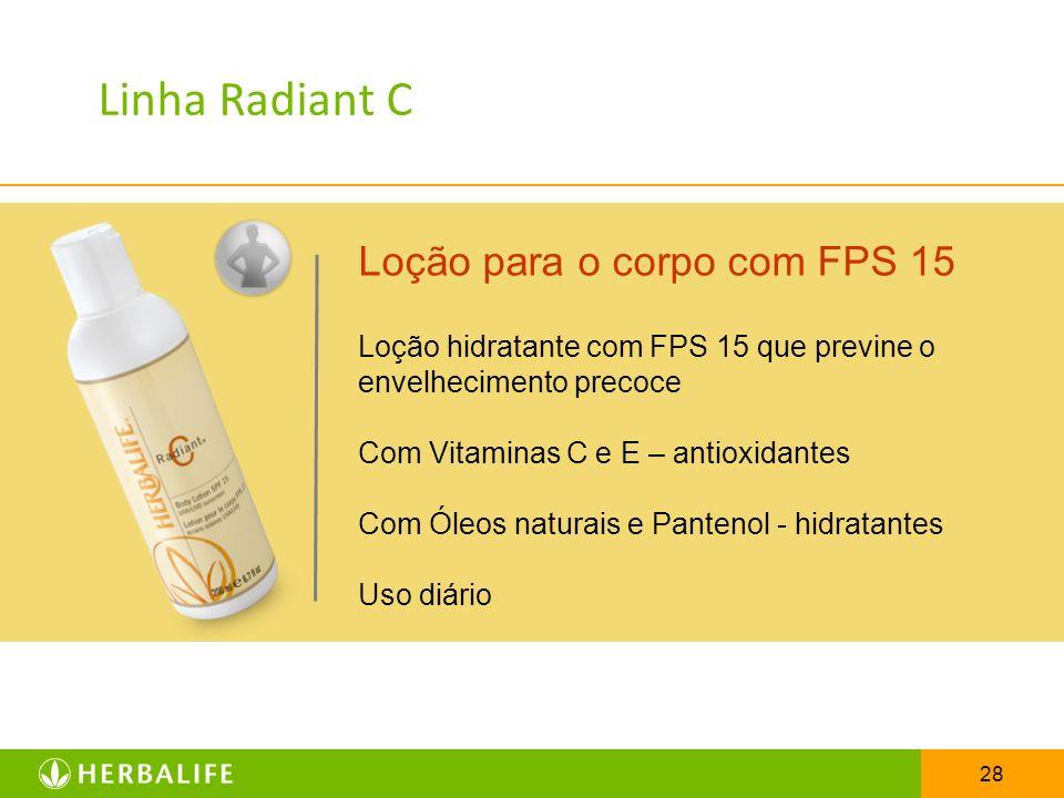 28 Loção para o corpo com FPS 15 Loção hidratante com FPS 15 que previne o envelhecimento precoce Com Vitaminas C e E – antioxidantes Com Óleos natura