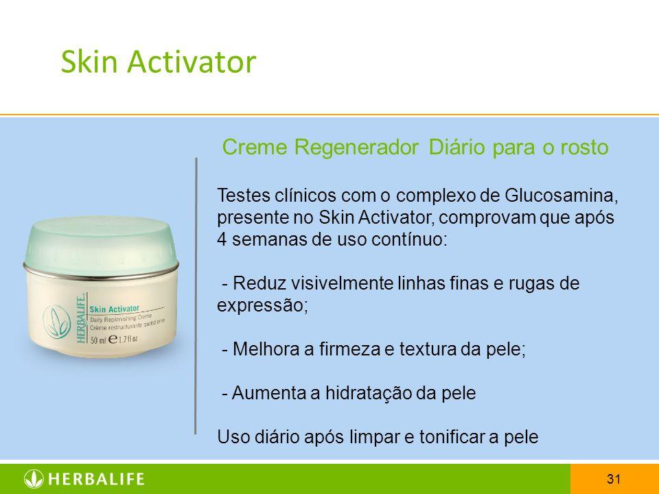 31 Creme Regenerador Diário para o rosto Testes clínicos com o complexo de Glucosamina, presente no Skin Activator, comprovam que após 4 semanas de us
