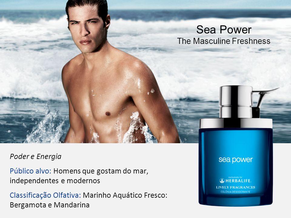 55 Poder e Energia Público alvo: Homens que gostam do mar, independentes e modernos Classificação Olfativa: Marinho Aquático Fresco: Bergamota e Manda