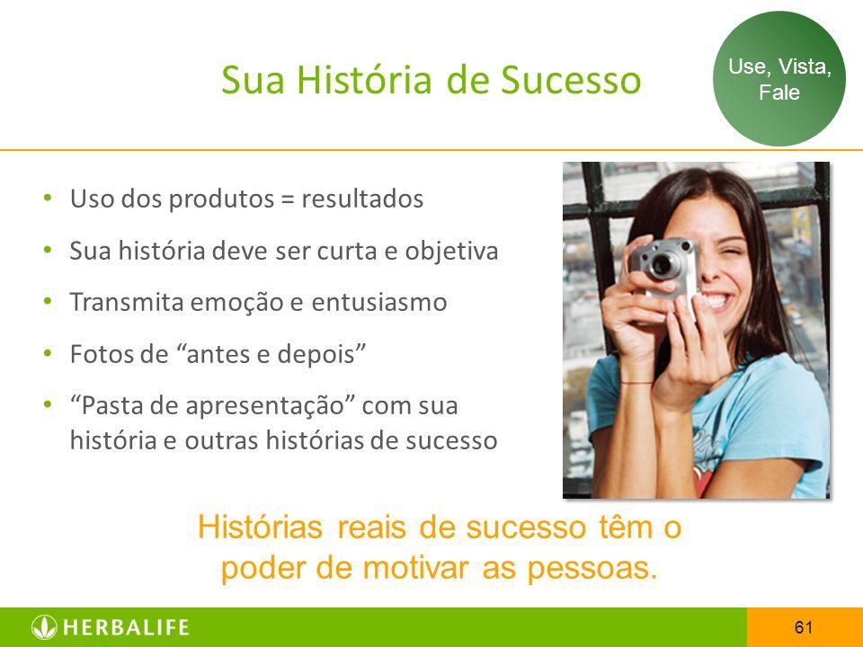 61 Sua História de Sucesso Histórias reais de sucesso têm o poder de motivar as pessoas. Uso dos produtos = resultados Sua história deve ser curta e o