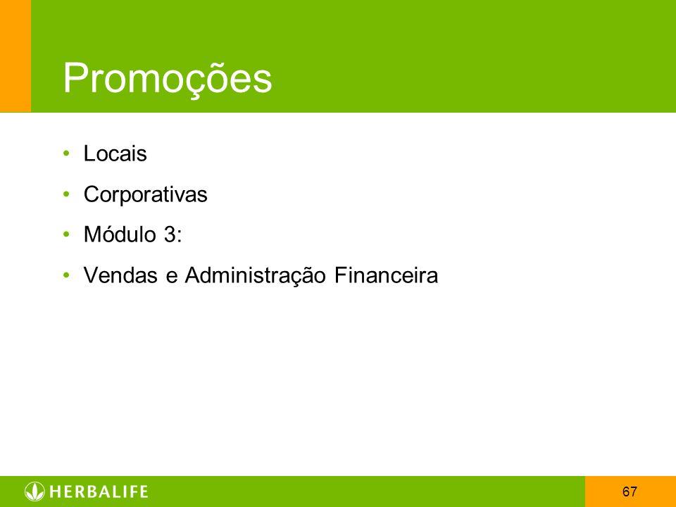 67 Promoções Locais Corporativas Módulo 3: Vendas e Administração Financeira