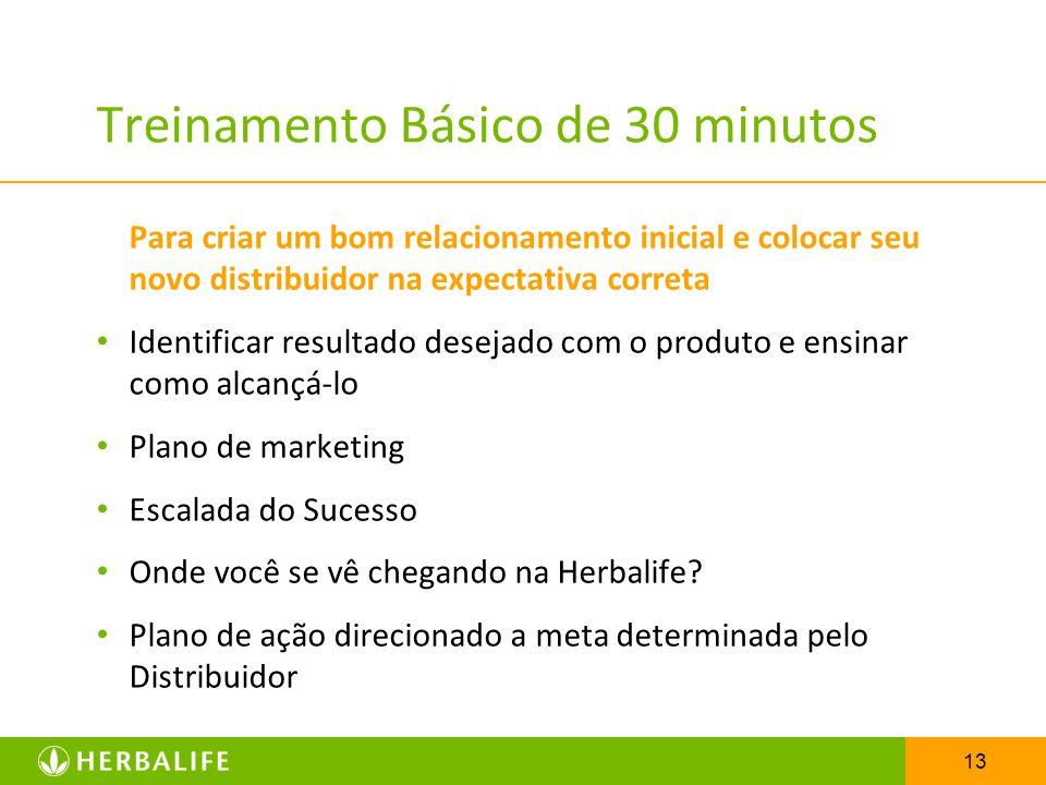 13 Treinamento Básico de 30 minutos Para criar um bom relacionamento inicial e colocar seu novo distribuidor na expectativa correta Identificar result