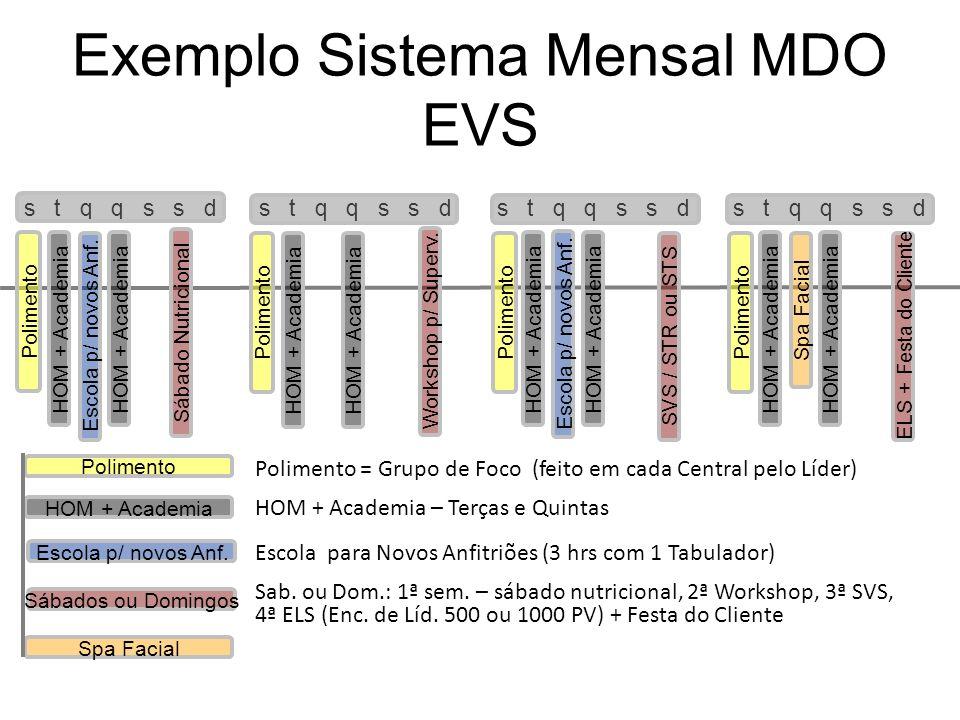 s t q q s s d Exemplo Sistema Mensal MDO EVS s t q q s s d Polimento HOM + Academia Escola p/ novos Anf. Sábados ou Domingos Spa Facial Polimento HOM