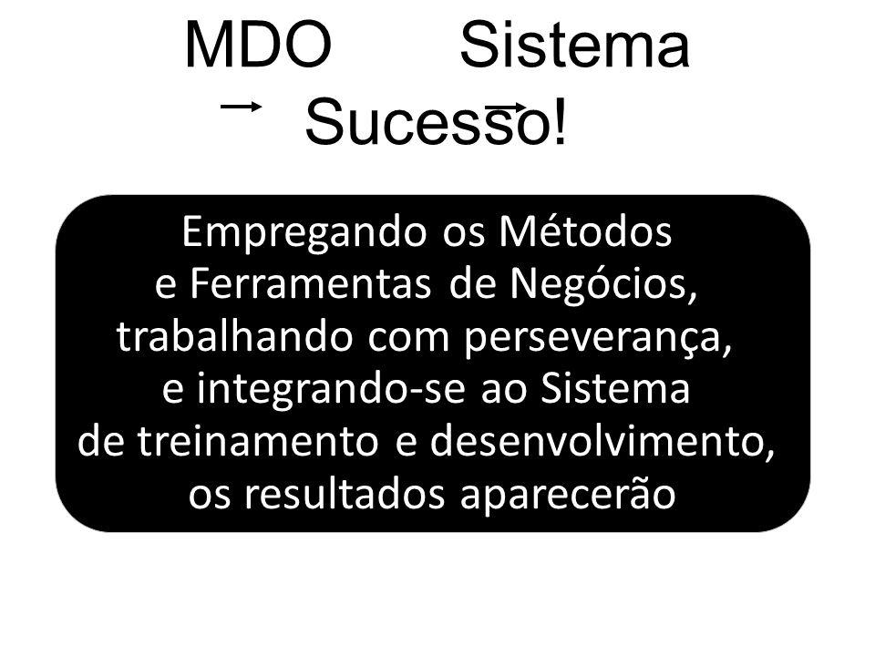 MDO Sistema Sucesso! Empregando os Métodos e Ferramentas de Negócios, trabalhando com perseverança, e integrando-se ao Sistema de treinamento e desenv