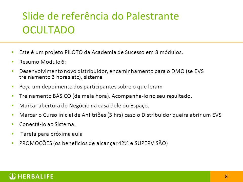 9 O Papel de um Patrocinador: Acompanhamento ao Distribuidor Recrutar & Patrocinar Exemplo + Treinamento = Recompensa futura
