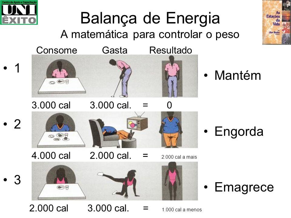 Balança de Energia A matemática para controlar o peso 1 2 3 Mantém Engorda Emagrece Consome Gasta Resultado 4.000 cal 2.000 cal. = 2.000 cal a mais 2.