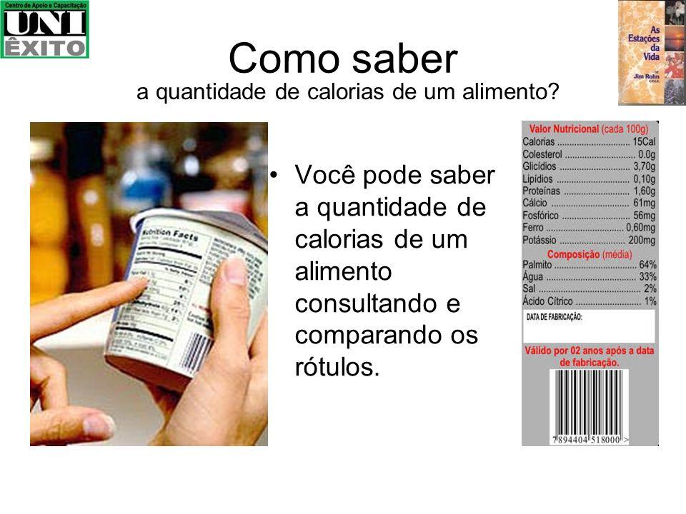 Como saber a quantidade de calorias de um alimento? Você pode saber a quantidade de calorias de um alimento consultando e comparando os rótulos.
