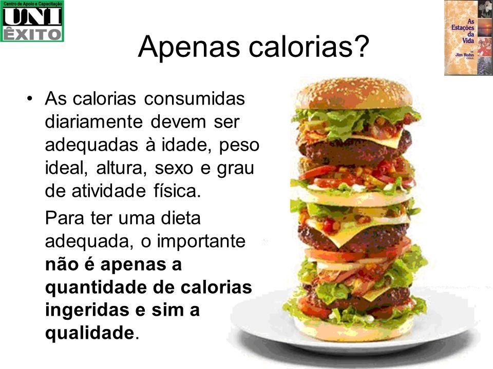 Apenas calorias? As calorias consumidas diariamente devem ser adequadas à idade, peso ideal, altura, sexo e grau de atividade física. Para ter uma die