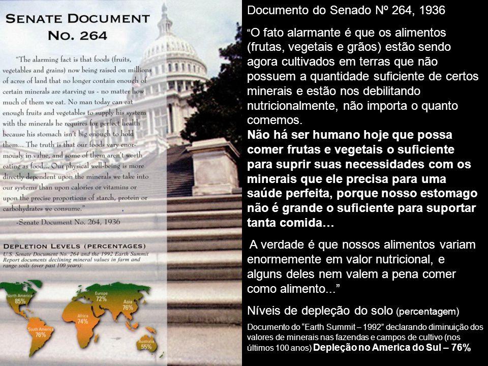 Documento do Senado Nº 264, 1936 O fato alarmante é que os alimentos (frutas, vegetais e grãos) estão sendo agora cultivados em terras que não possuem