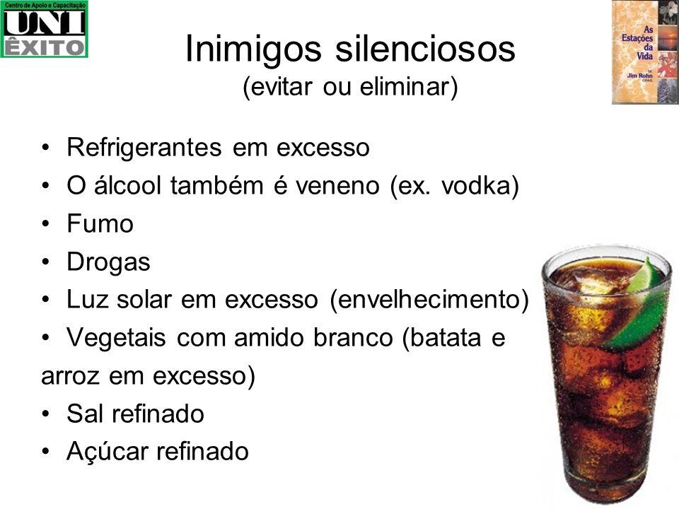 Inimigos silenciosos (evitar ou eliminar) Refrigerantes em excesso O álcool também é veneno (ex. vodka) Fumo Drogas Luz solar em excesso (envelhecimen