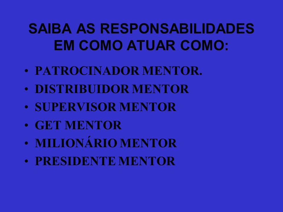 PRIMEIRO PASSO PARA SE TORNAR LIDER SABER QUE O PATROCINADOR É MENTOR ( MANUAL DOS 20 PASSOS ): MENTOR = ORIENTADOR = TREINADOR = ACOMPANHADOR = INSPI