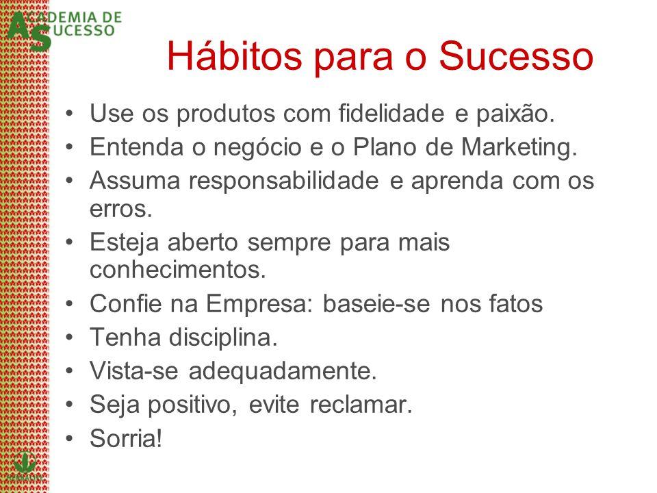 Hábitos para o Sucesso Use os produtos com fidelidade e paixão. Entenda o negócio e o Plano de Marketing. Assuma responsabilidade e aprenda com os err
