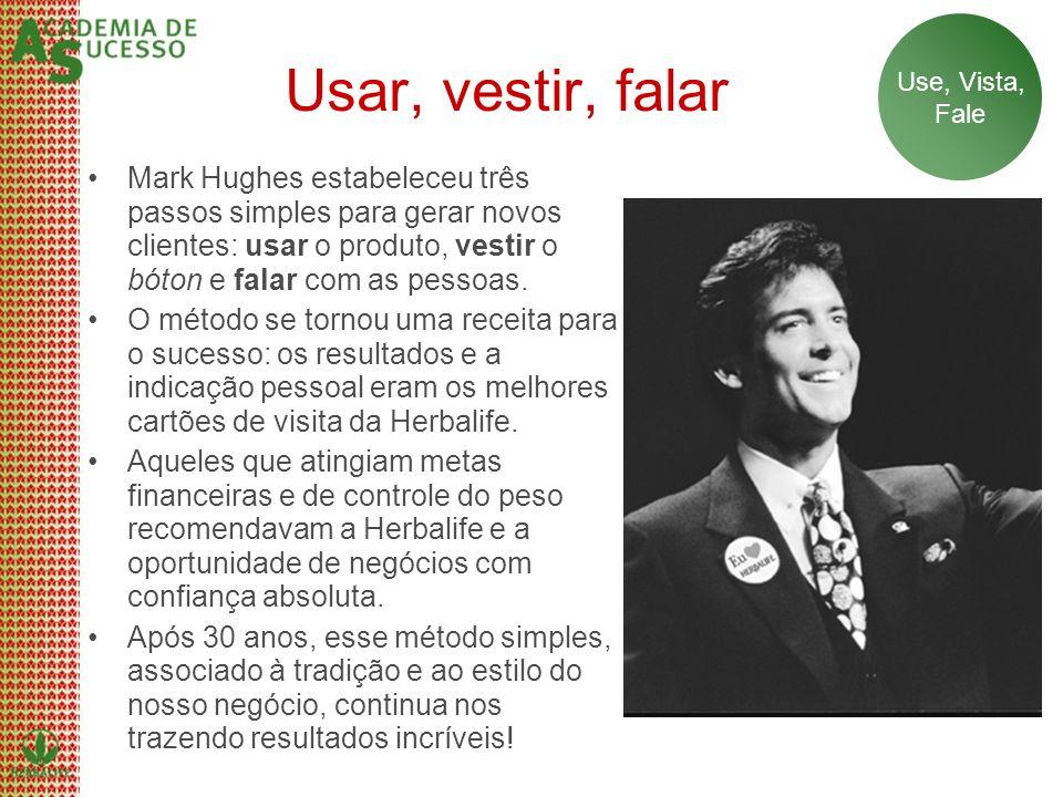 Usar, vestir, falar Mark Hughes estabeleceu três passos simples para gerar novos clientes: usar o produto, vestir o bóton e falar com as pessoas. O mé