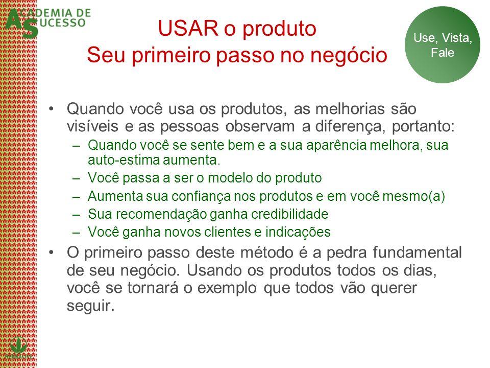 USAR o produto Seu primeiro passo no negócio Quando você usa os produtos, as melhorias são visíveis e as pessoas observam a diferença, portanto: –Quan