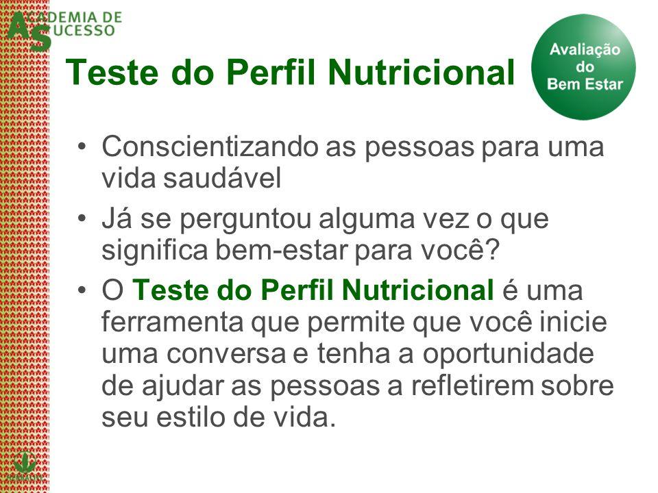 Teste do Perfil Nutricional Conscientizando as pessoas para uma vida saudável Já se perguntou alguma vez o que significa bem-estar para você? O Teste