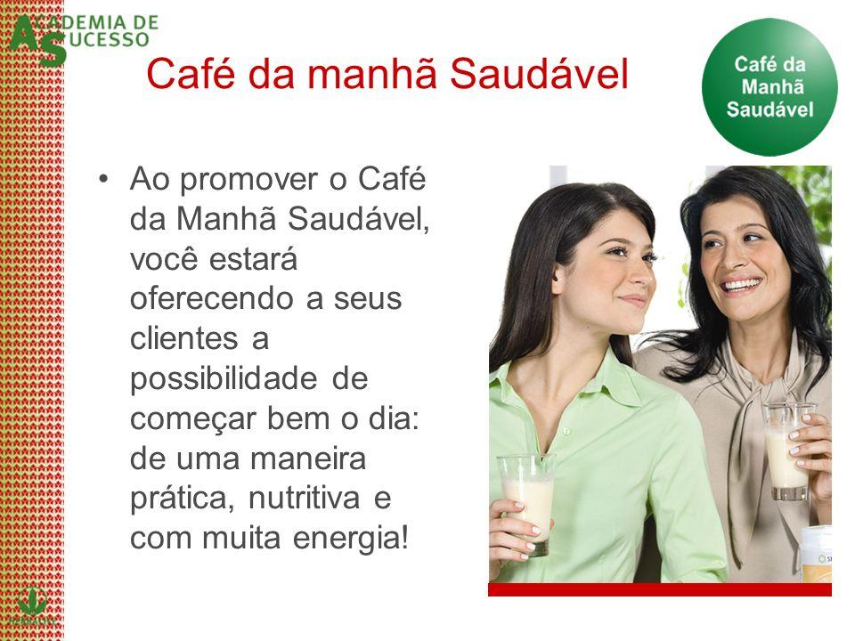 Café da manhã Saudável Ao promover o Café da Manhã Saudável, você estará oferecendo a seus clientes a possibilidade de começar bem o dia: de uma manei