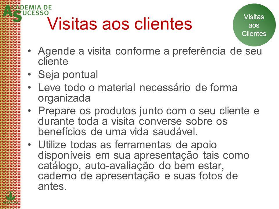 Visitas aos clientes Agende a visita conforme a preferência de seu cliente Seja pontual Leve todo o material necessário de forma organizada Prepare os