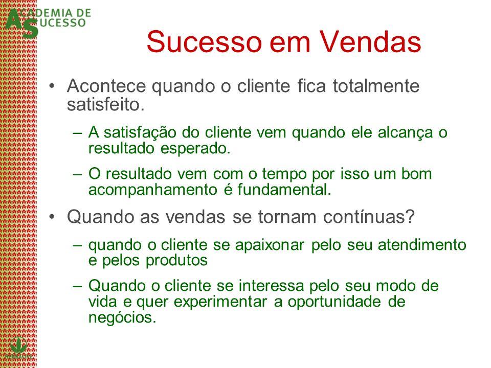 Sucesso em Vendas Acontece quando o cliente fica totalmente satisfeito. –A satisfação do cliente vem quando ele alcança o resultado esperado. –O resul