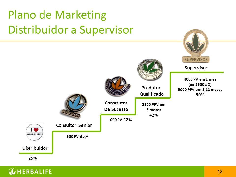 13 Distribuidor Consultor Senior 25% 500 PV 35% Supervisor Produtor Qualificado 1000 PV 42% 2500 PPV em 3 meses 42% 4000 PV em 1 mês (ou 2500 x 2) 500