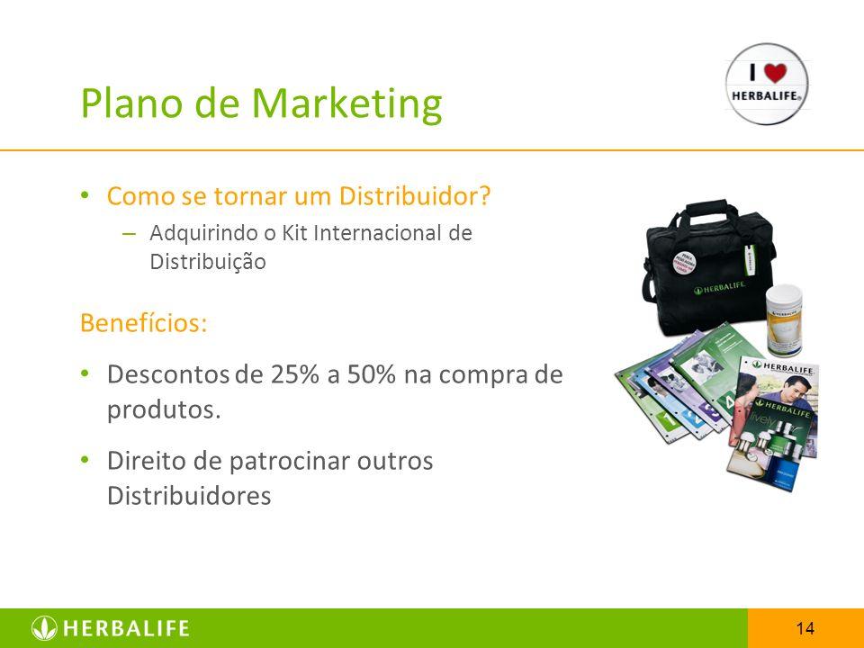 14 Plano de Marketing Como se tornar um Distribuidor? – Adquirindo o Kit Internacional de Distribuição Benefícios: Descontos de 25% a 50% na compra de
