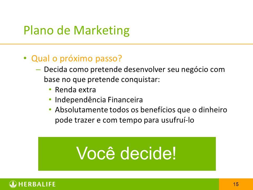 15 Plano de Marketing Qual o próximo passo? – Decida como pretende desenvolver seu negócio com base no que pretende conquistar: Renda extra Independên
