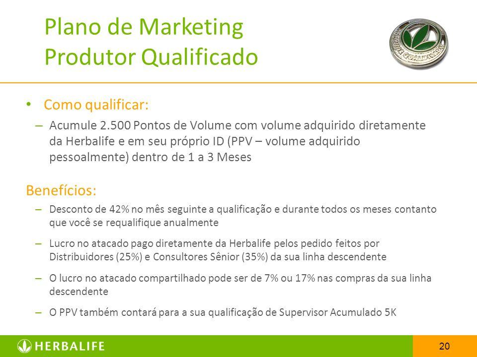20 Como qualificar: – Acumule 2.500 Pontos de Volume com volume adquirido diretamente da Herbalife e em seu próprio ID (PPV – volume adquirido pessoal