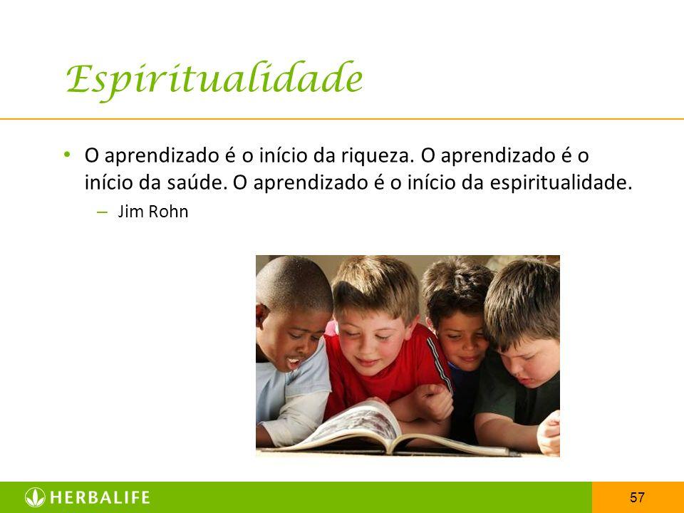 57 Espiritualidade O aprendizado é o início da riqueza. O aprendizado é o início da saúde. O aprendizado é o início da espiritualidade. – Jim Rohn