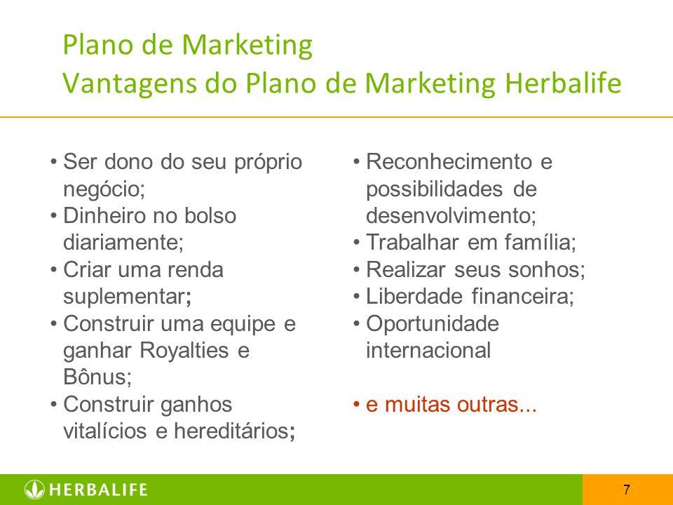 7 Plano de Marketing Vantagens do Plano de Marketing Herbalife Ser dono do seu próprio negócio; Dinheiro no bolso diariamente; Criar uma renda supleme