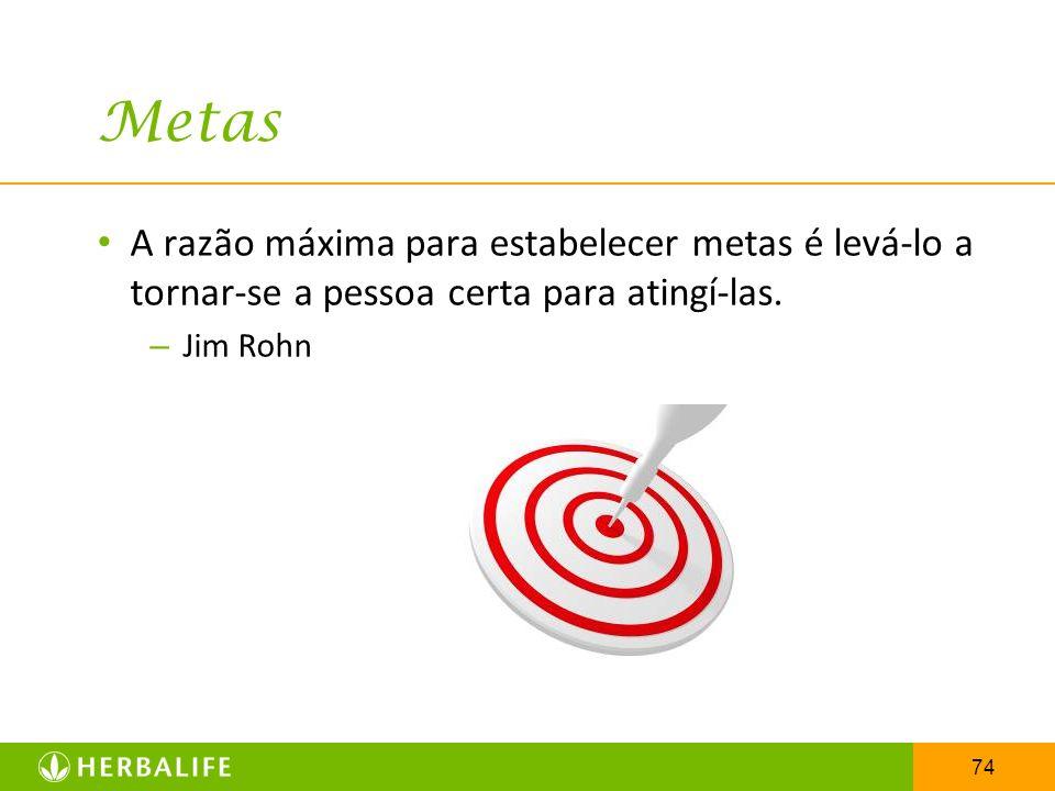 74 Metas A razão máxima para estabelecer metas é levá-lo a tornar-se a pessoa certa para atingí-las. – Jim Rohn