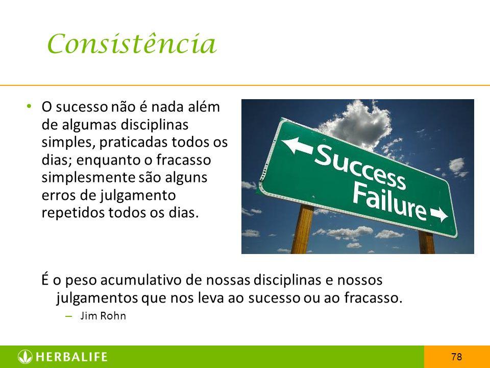 78 O sucesso não é nada além de algumas disciplinas simples, praticadas todos os dias; enquanto o fracasso simplesmente são alguns erros de julgamento