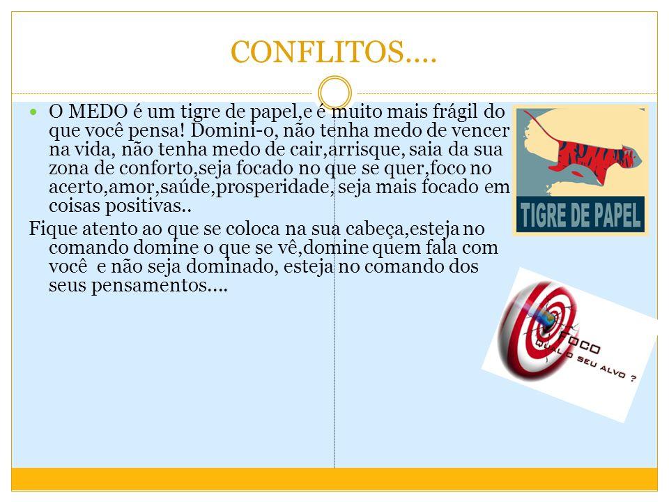 CONFLITOS....O MEDO é um tigre de papel,e é muito mais frágil do que você pensa.