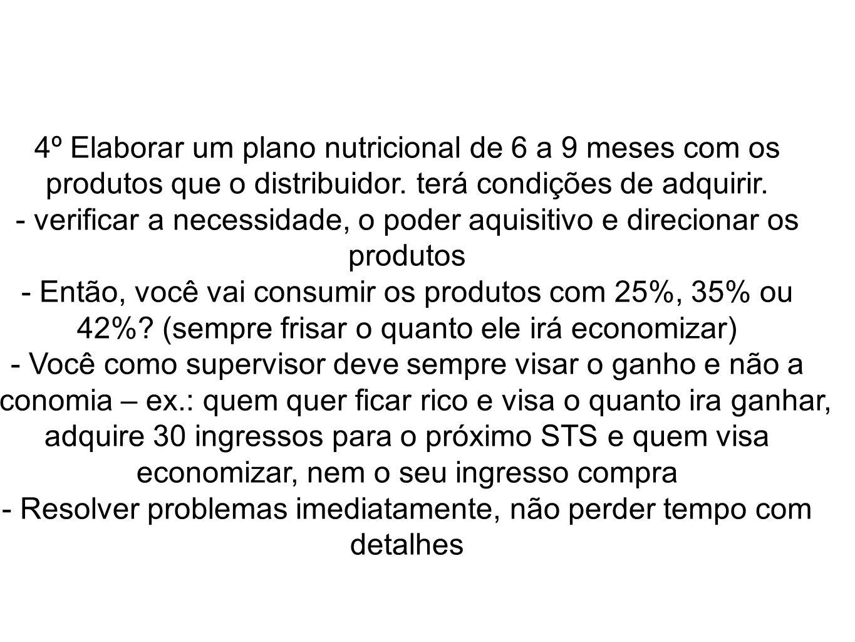4º Elaborar um plano nutricional de 6 a 9 meses com os produtos que o distribuidor. terá condições de adquirir. - verificar a necessidade, o poder aqu