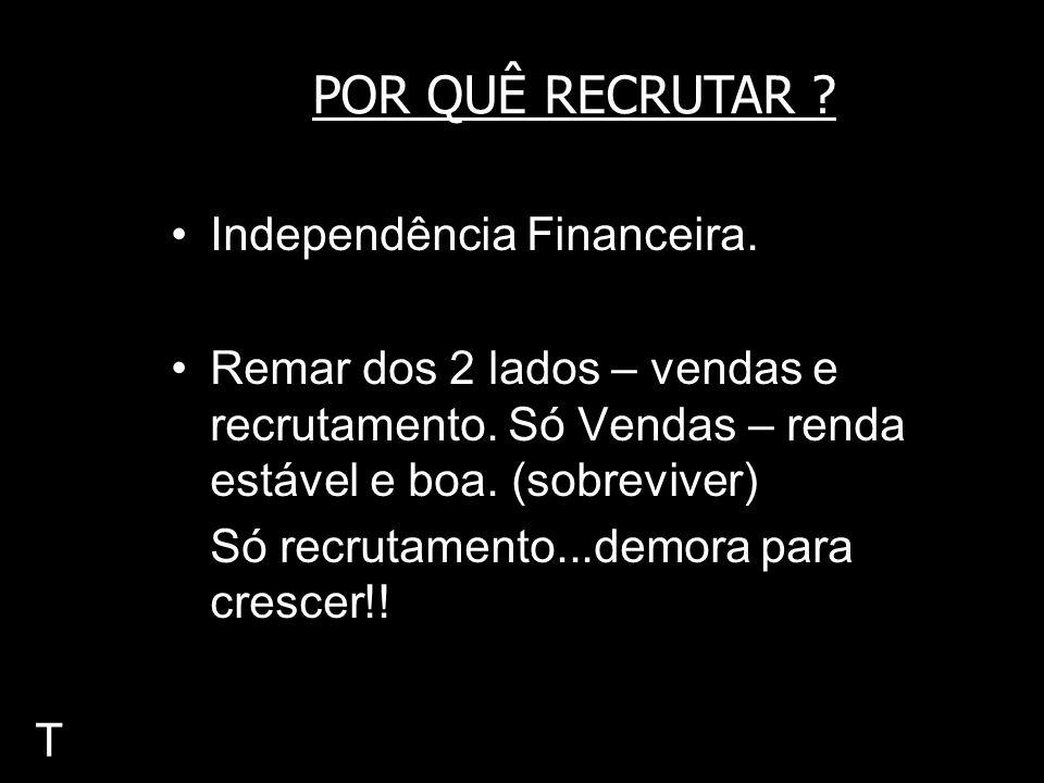 Independência Financeira. Remar dos 2 lados – vendas e recrutamento. Só Vendas – renda estável e boa. (sobreviver) Só recrutamento...demora para cresc