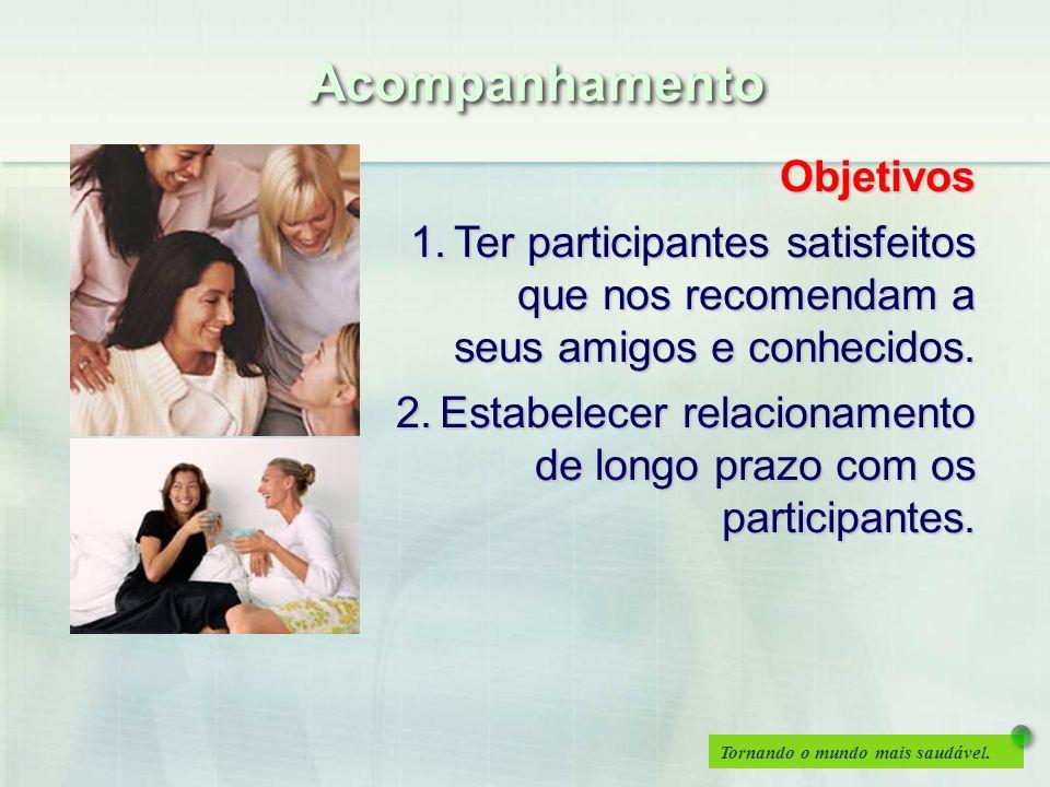 Tornando o mundo mais saudável. Objetivos 1.Ter participantes satisfeitos que nos recomendam a seus amigos e conhecidos. 2.Estabelecer relacionamento