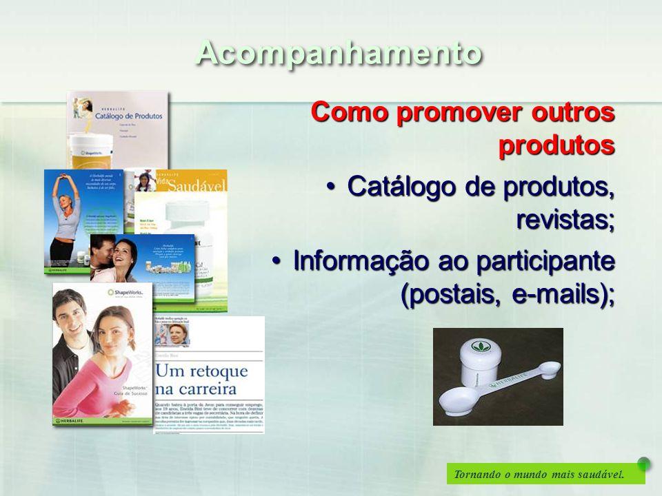 Tornando o mundo mais saudável. Acompanhamento Como promover outros produtos Catálogo de produtos, revistas;Catálogo de produtos, revistas; Informação