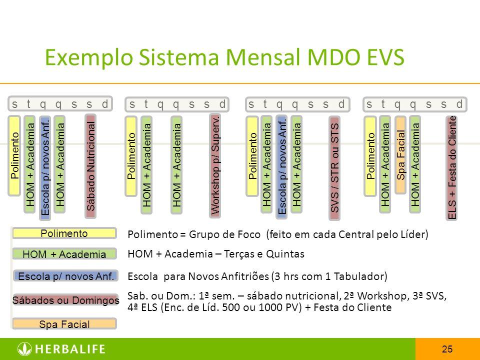 25 s t q q s s d Exemplo Sistema Mensal MDO EVS s t q q s s d Polimento HOM + Academia Escola p/ novos Anf. Sábados ou Domingos Spa Facial Polimento H