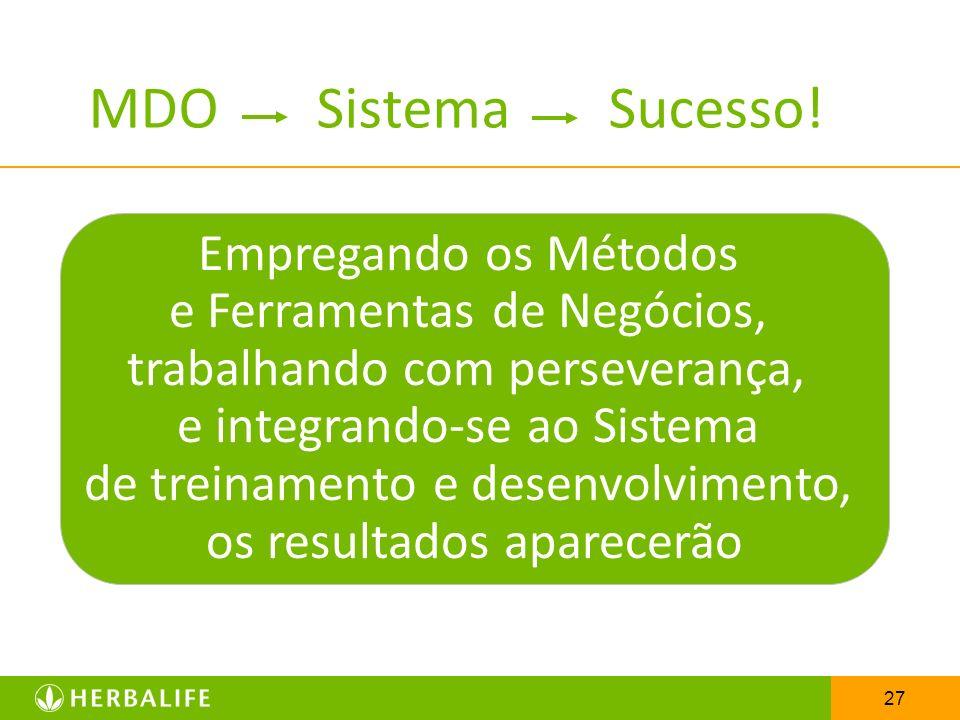 27 MDO Sistema Sucesso! Empregando os Métodos e Ferramentas de Negócios, trabalhando com perseverança, e integrando-se ao Sistema de treinamento e des