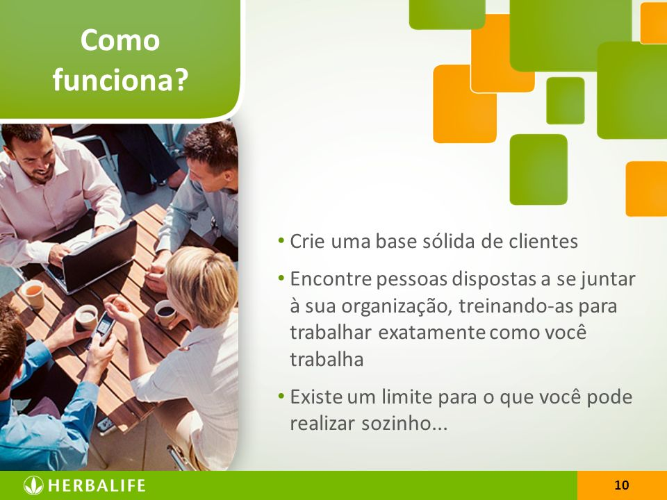10 Como funciona? Crie uma base sólida de clientes Encontre pessoas dispostas a se juntar à sua organização, treinando-as para trabalhar exatamente co