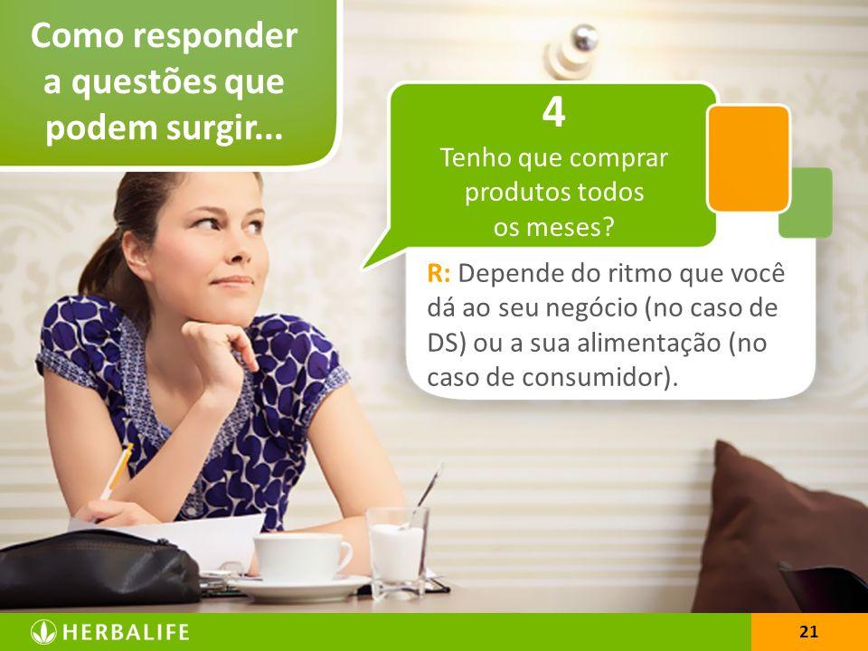21 Como responder a questões que podem surgir... 21 R: Depende do ritmo que você dá ao seu negócio (no caso de DS) ou a sua alimentação (no caso de co