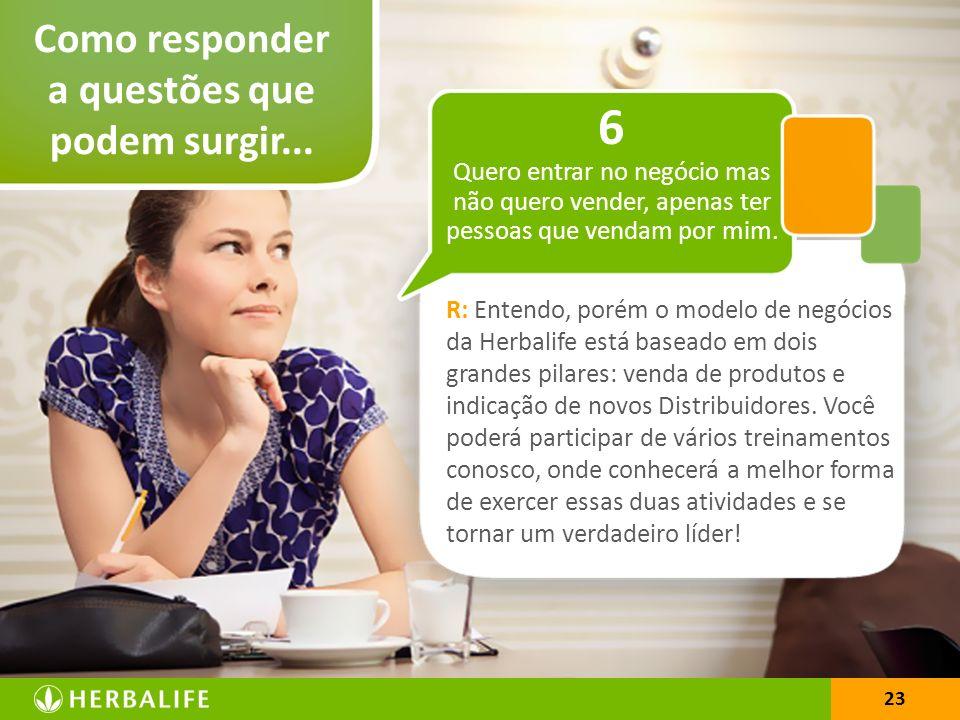 23 Como responder a questões que podem surgir... 23 R: Entendo, porém o modelo de negócios da Herbalife está baseado em dois grandes pilares: venda de