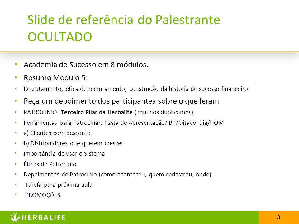 3 Slide de referência do Palestrante OCULTADO Academia de Sucesso em 8 módulos. Resumo Modulo 5: Recrutamento, ética de recrutamento, construção da hi