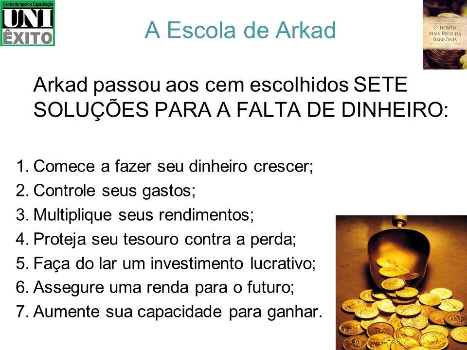 O povo estava desempregado e o Rei pediu que chamassem Arkad para saber como ele se tornou tão rico. Arkad revelou ao Rei que no início não possuía na