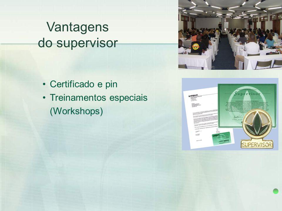 Certificado e pin Treinamentos especiais (Workshops) Vantagens do supervisor