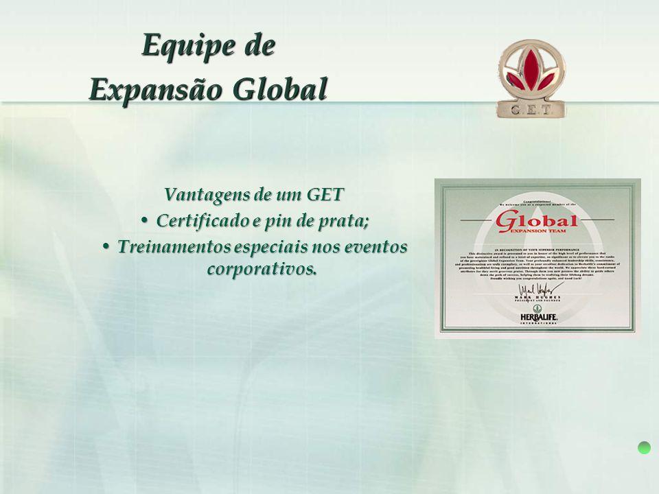 Vantagens de um GET Certificado e pin de prata; Certificado e pin de prata; Treinamentos especiais nos eventos corporativos. Treinamentos especiais no