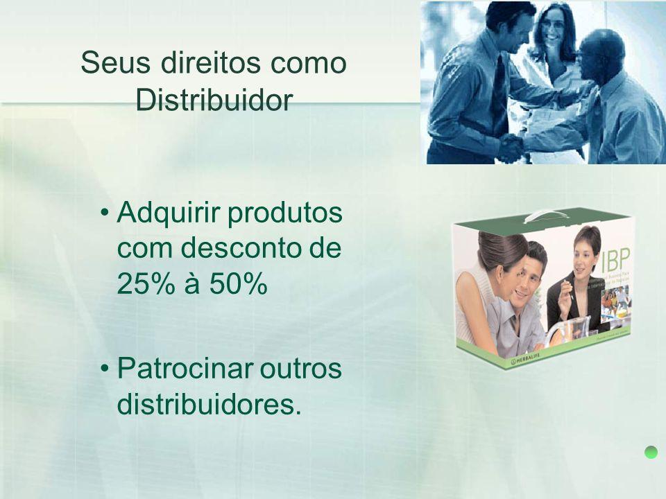 Adquirir produtos com desconto de 25% à 50% Patrocinar outros distribuidores. Seus direitos como Distribuidor