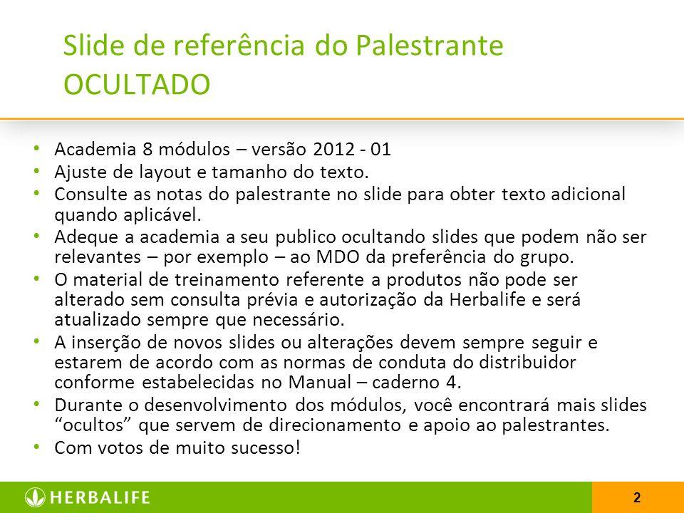 2 Slide de referência do Palestrante OCULTADO Academia 8 módulos – versão 2012 - 01 Ajuste de layout e tamanho do texto. Consulte as notas do palestra