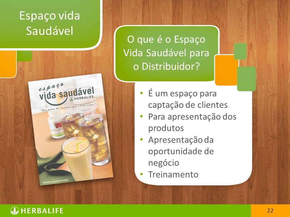 22 Espaço vida Saudável É um espaço para captação de clientes Para apresentação dos produtos Apresentação da oportunidade de negócio Treinamento O que