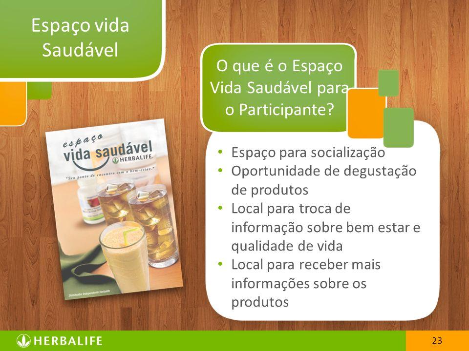 23 Espaço vida Saudável Espaço para socialização Oportunidade de degustação de produtos Local para troca de informação sobre bem estar e qualidade de