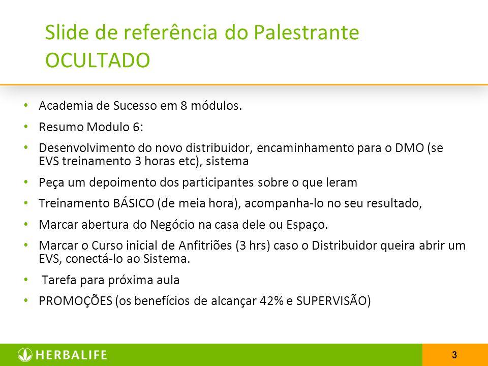 3 Slide de referência do Palestrante OCULTADO Academia de Sucesso em 8 módulos. Resumo Modulo 6: Desenvolvimento do novo distribuidor, encaminhamento
